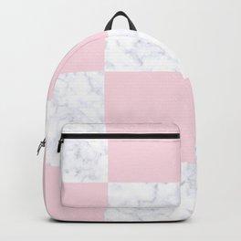 Elegant modern white marble pink checkered Backpack