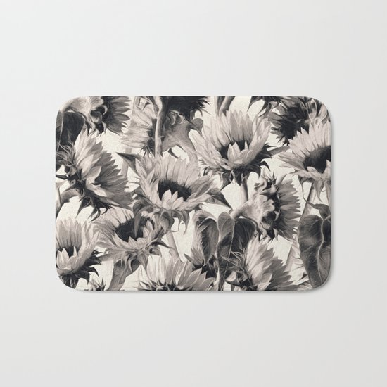 Sunflowers in Soft Sepia Bath Mat