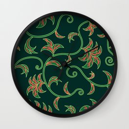 Tropical Leaves Climbing Plants Wall Clock