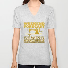 WEEKEND FORECAST SEWING Unisex V-Neck
