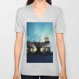 Abandoned Church within the Scituate Reservoir - Scituate, Rhode Island Landscape by Jeanpaul Ferro Unisex V-Neck