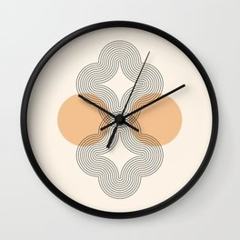 Geometric Lines in Black and Beige 4 (Flower Abstraction) Wall Clock