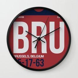 BRU Brussels Luggage Tag 2 Wall Clock