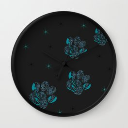 blue cat paws Wall Clock