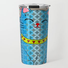 Japanese Lucky Cat and Cherry Blossoms  Travel Mug