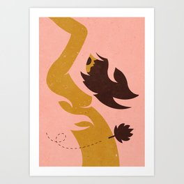 Woman with leaf ... Art Print