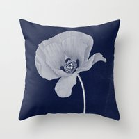 blueprint Throw Pillows featuring Poppy Blueprint by I Am Kimberley Ann