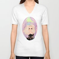 anxiety V-neck T-shirts featuring Anxiety by Victoria Rosas