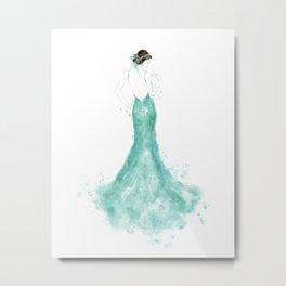 Fashion illustration mermaid dress in mint Metal Print