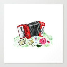 Retro red accordion Canvas Print