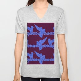 Purple Hummingbirds on Ultraviolet Line Unisex V-Neck