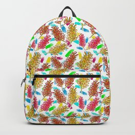 Bright Australian Native Florals on lovely colourful background Backpack