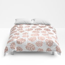 Modern tropical leaf monstera rose gold hand drawn illustration on white marble Comforters