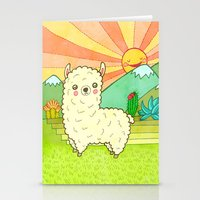 alpaca Stationery Cards featuring Alpaca by My Zoetrope