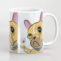 frenchie Mugs featuring Frenchie by Kandus Johnson