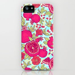 Pattern with pomegranates. Decorative patterns of the garnet fruit on white background . iPhone Case