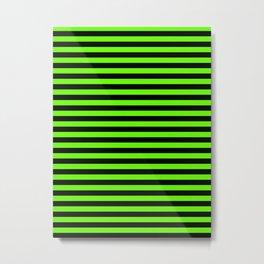 Bright Green and Black Horizontal Stripes Metal Print