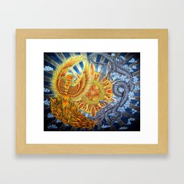 Chinese Phoenix and Dragon Mandala Framed Art Print