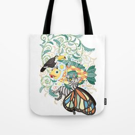 Plant fish and Butterfly cat and Toco toucan (remake) Tote Bag