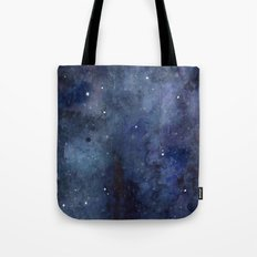 Night Sky Stars Galaxy | Watercolor Nebula Tote Bag