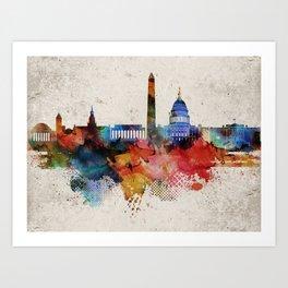 Washington Abstract Skyline Art Print