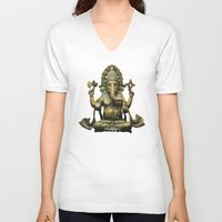 ganesha V-neck T-shirts featuring Ganesha by Justin Atkins