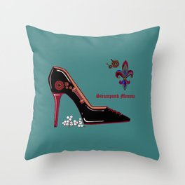 A Steampunk Pump, Stiletto, Steampunk Momma Throw Pillow