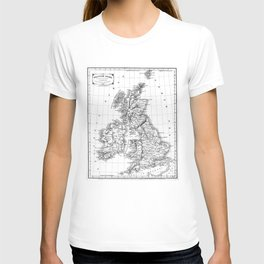 Vintage Map of The British Isles (1864) BW T-shirt