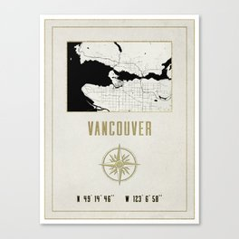 Vancouver - Vintage Map and Location Canvas Print