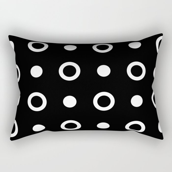 Polka Dot Pattern 243 Black And White Rectangular Pillow