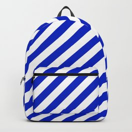 Cobalt Blue and White Wide Candy Cane Stripe Backpack