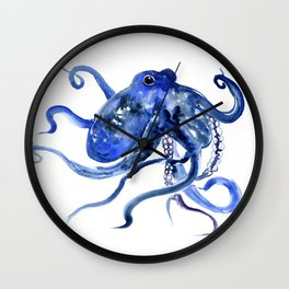 Octopus Design Blue Navy Blue Beach, cute ocotpus texture art Wall Clock