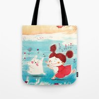 studio ghibli Tote Bags featuring Fan-art Studio Ghibli  by Maureen Poignonec