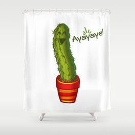 Ayayaye Cactus Pickle Shower Curtain