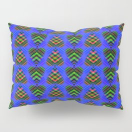 Blue hearts with green stripes on a purple background. Pillow Sham