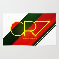 ronaldo Area & Throw Rugs featuring 0003 - CR7 by FIFAMATIC