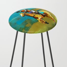 poloplayer abstract turquoise ochre Counter Stool