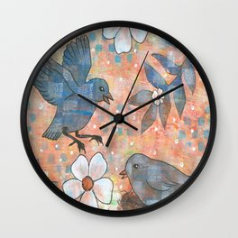 Whimiscal Birds in Nest Wall Clock