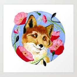 Fox in the Poppies Art Print