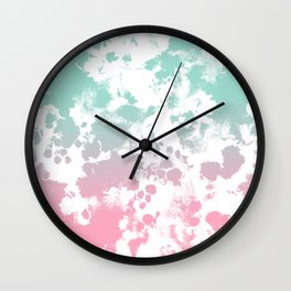 Margot - abstract painting mint and pink pastel trendy girly home decor dorm college gifts Wall Clock