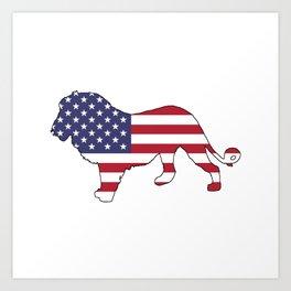 "Lion ""American Flag"" Art Print"