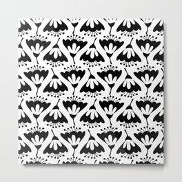 White and Black Flowers Metal Print
