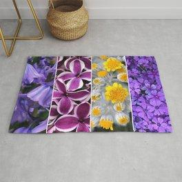 Purple Yellow Flower Quad Rug