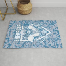 Enforcer Ice Hockey Player Skeleton Rug