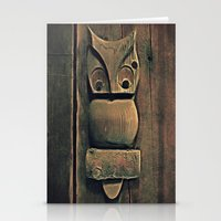 wooden Stationery Cards featuring Wooden Owl by Dorothy Pinder