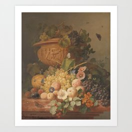 Still Life with Flowers and Fruit, Eelke Jelles Eelkema (1824) Art Print