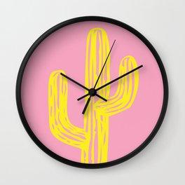 Pink and Yellow Cactus Wall Clock
