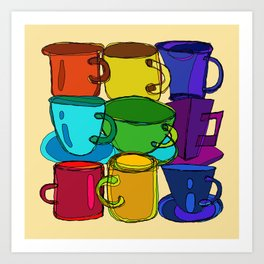 Tea Cups and Coffee Mugs Spectrum Art Print