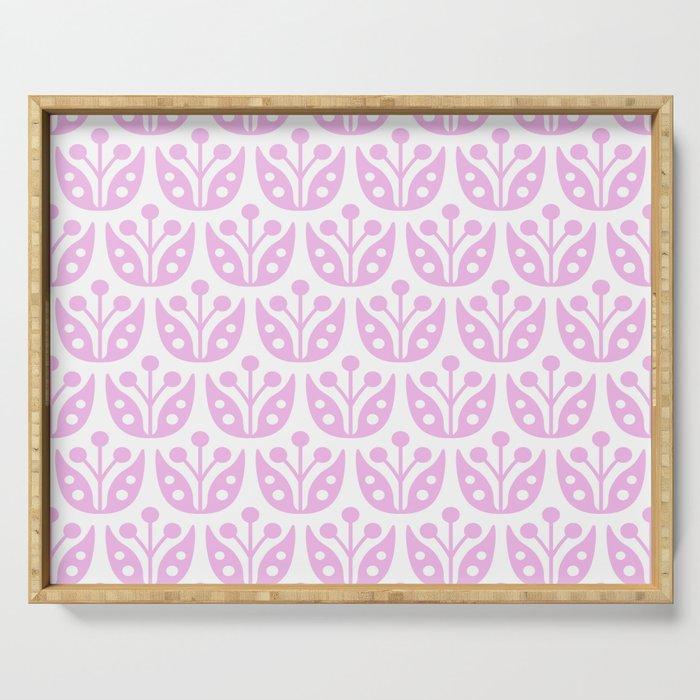 Mid Century Modern Flower Pattern 731 Pink Serving Tray