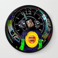 lime Wall Clocks featuring Lime by black door